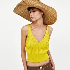 Zara Knit Yellow Tank Top Small